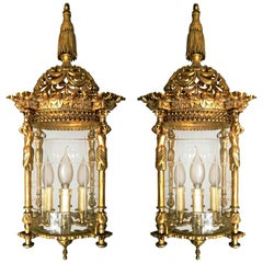 Pair French Empire Gilded Bronze Caryatids Cut Glass 4-Light Lantern Chandelier