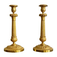 Pair of French Empire Gilt Bronze Candle Sticks