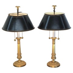 Pair of French Empire Gilt Bronze Candlesticks with Tôle Shades, 19th Century