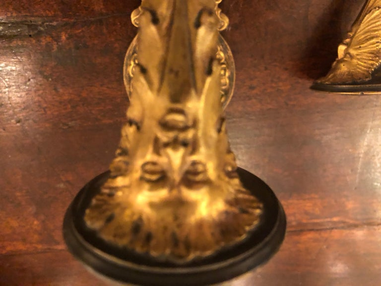19th Century Pair of French Empire Gilt Bronze Sconces For Sale