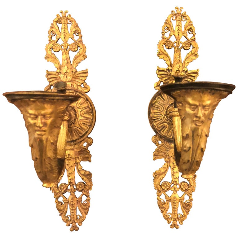 Pair of French Empire Gilt Bronze Sconces For Sale