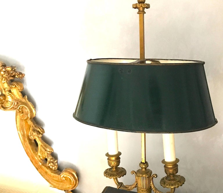 19th Century Pair of French Empire Gilt Bronze Two-Arm Bouillotte Lamps or Table Lamps, 1815 For Sale