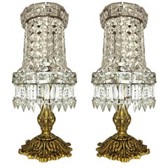 Pair of French Empire Hollywood Regency in Bronze and Clear Crystal Table Lamps
