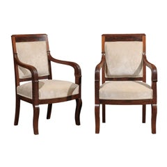 Pair of French Empire Mahogany Fauteuils, 19th Century, circa 1810