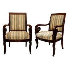Pair of French Empire Mahogany Open Armchairs, circa 1820