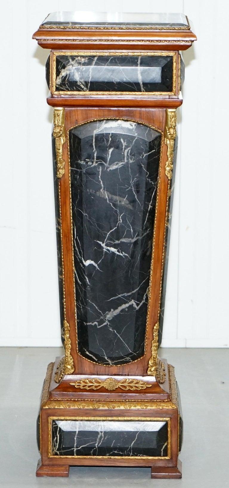 Pair of French Empire Marble, Kingwood & Ormolu Mounts Pedestal Columns Pillars For Sale 4