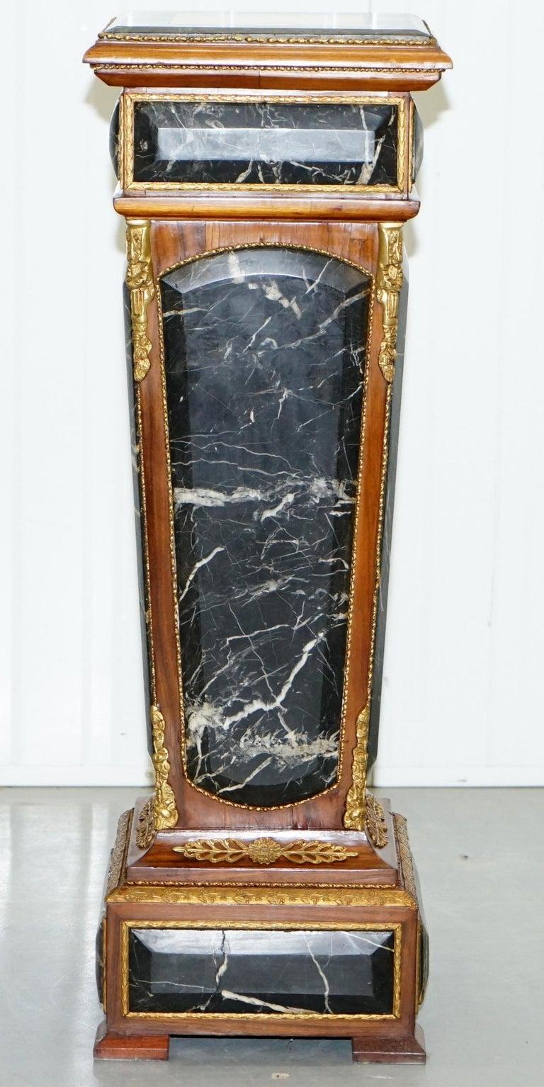 Pair of French Empire Marble, Kingwood & Ormolu Mounts Pedestal Columns Pillars For Sale 5