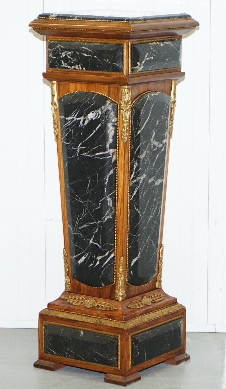 Pair of French Empire Marble, Kingwood & Ormolu Mounts Pedestal Columns Pillars For Sale 8