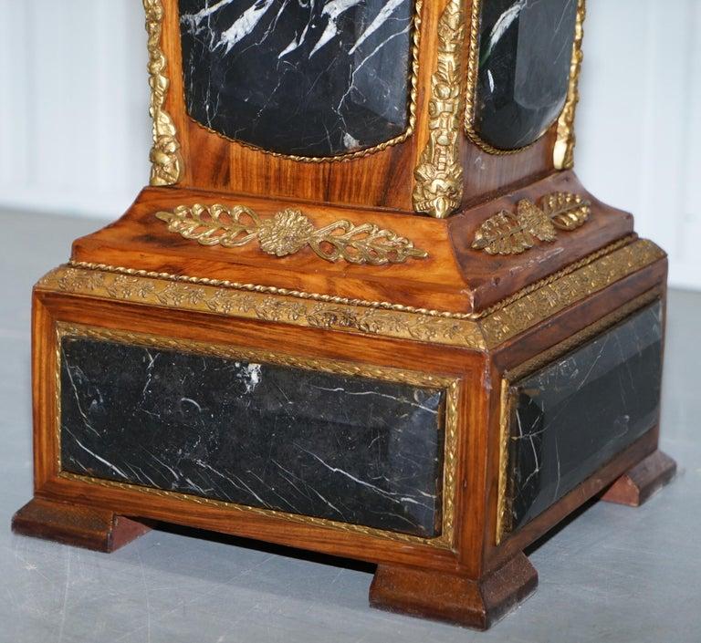 Pair of French Empire Marble, Kingwood & Ormolu Mounts Pedestal Columns Pillars For Sale 10