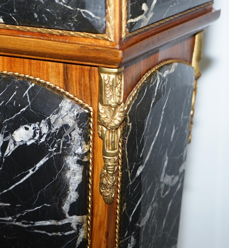 Pair of French Empire Marble, Kingwood & Ormolu Mounts Pedestal Columns Pillars For Sale 12