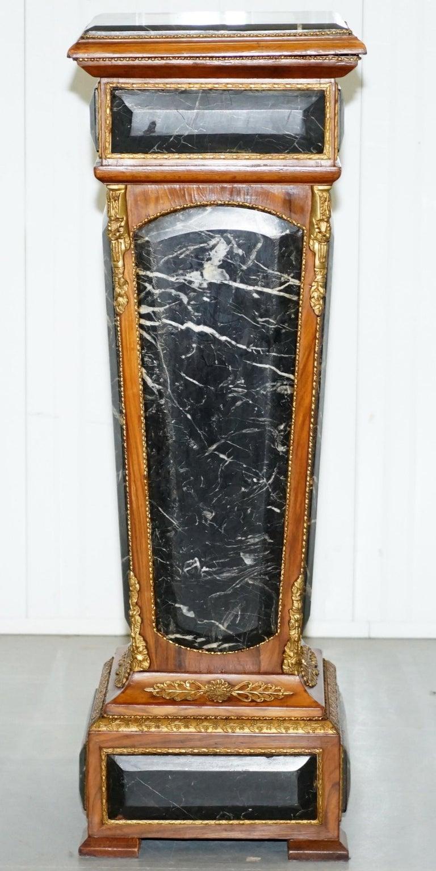 Pair of French Empire Marble, Kingwood & Ormolu Mounts Pedestal Columns Pillars For Sale 14