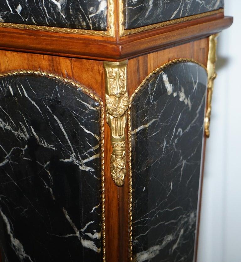 Pair of French Empire Marble, Kingwood & Ormolu Mounts Pedestal Columns Pillars For Sale 1