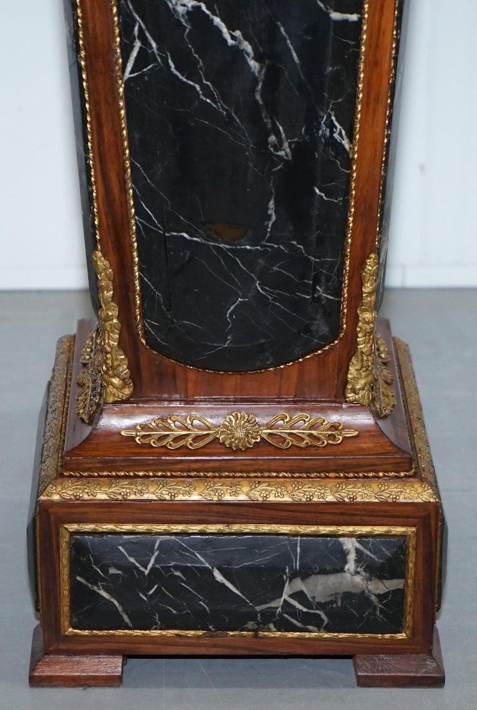 Pair of French Empire Marble, Kingwood & Ormolu Mounts Pedestal Columns Pillars For Sale 2
