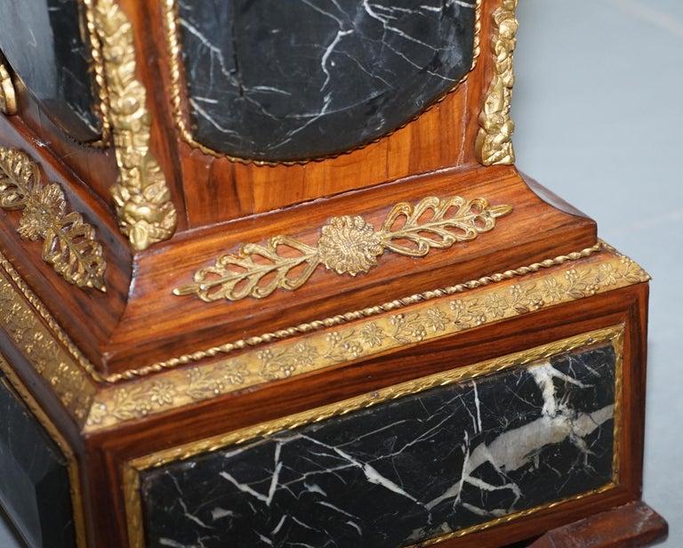 Pair of French Empire Marble, Kingwood & Ormolu Mounts Pedestal Columns Pillars For Sale 3