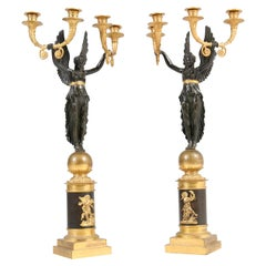 Pair of French Empire Ormolu and Patinated Bronze Four-Light Candelabra, 1820s
