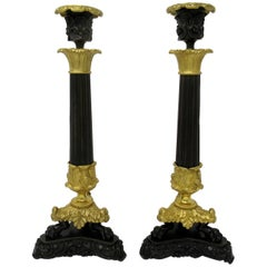 Pair of French Empire Ormolu Patinated Bronze Candlesticks Regency
