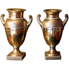 Pair of French Empire Period Matte and Burnished Gilt Porcelain Vases