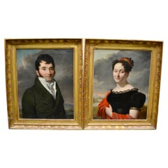 Pair of French Empire Portraits of an Aristocratic Couple by Borel dated 1819