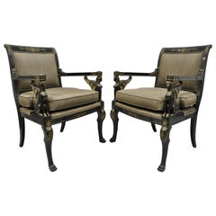 Pair of French Empire Regency Black Lacquer Chairs with Sphinx Figures, Lambert