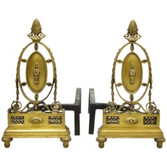 Pair of French Empire Sheraton Style Brass Bronze Urn Fireplace Andirons