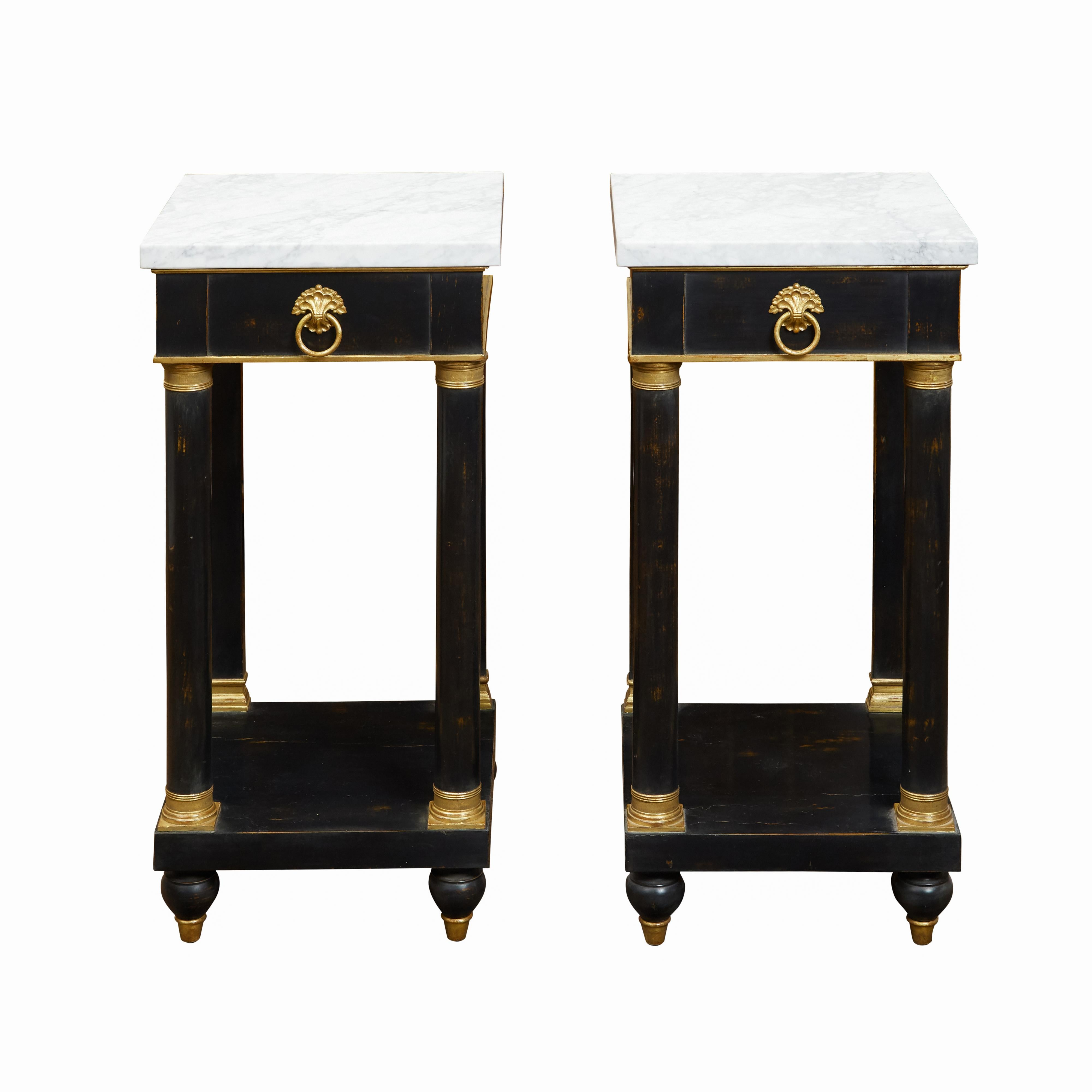 Pair of French Empire Style 1940s Ebonized Side Tables with Marble Tops