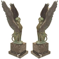 Pair of French Empire Green Patinated Spinxes