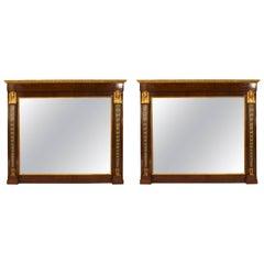 Pair of French Empire Style '19th Century' Mahogany Wall Mirrors