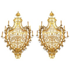Pair of Caldwell French Empire Style Ormolu Wall Sconces