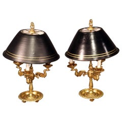 Pair of French Empire Style Brass Swan Bouillotte Table Lamps with Tole Shades