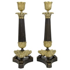 Pair of French Empire Style Bronze and Brass Candlesticks on Tripod Base