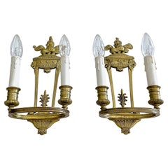 Pair of French Empire Style Bronze Lion Wall Sconces