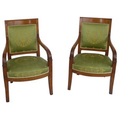 Pair of French Empire Style Carved Fruitwood Open Armchairs