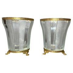 Pair of French Empire Style Cut Glass and Bronze Mounted Vases