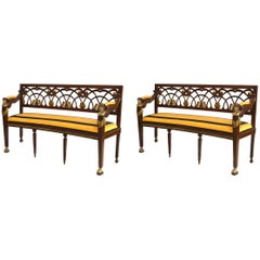 Pair of French Empire Style Egyptian Design Loveseats