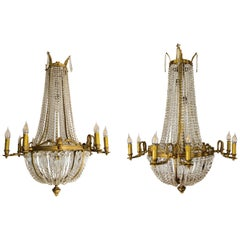 Pair of French Empire Style Fifteen-Light Crystal and Bronze Basket Chandeliers