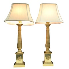 Pair of French Empire Style Gilded Metal Column Lamps