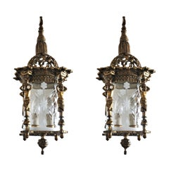 Pair of French Empire Style Gilt Bronze Cut Glass Two-Light Lanterns Chandeliers
