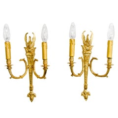 Pair of French Empire Style Gilt Bronze Sconces