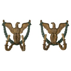 Pair of French Empire Style Gilt Wood Sconces with Eagles, Circa 1900
