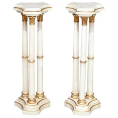 Pair of French Empire Style Giltwood and Marble Sculpture Pedestals