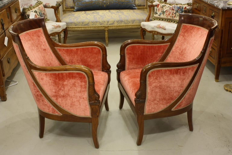 Pair of French Empire Style Mahogany Bergere Armchairs with Dolphins In Good Condition For Sale In Pembroke, MA