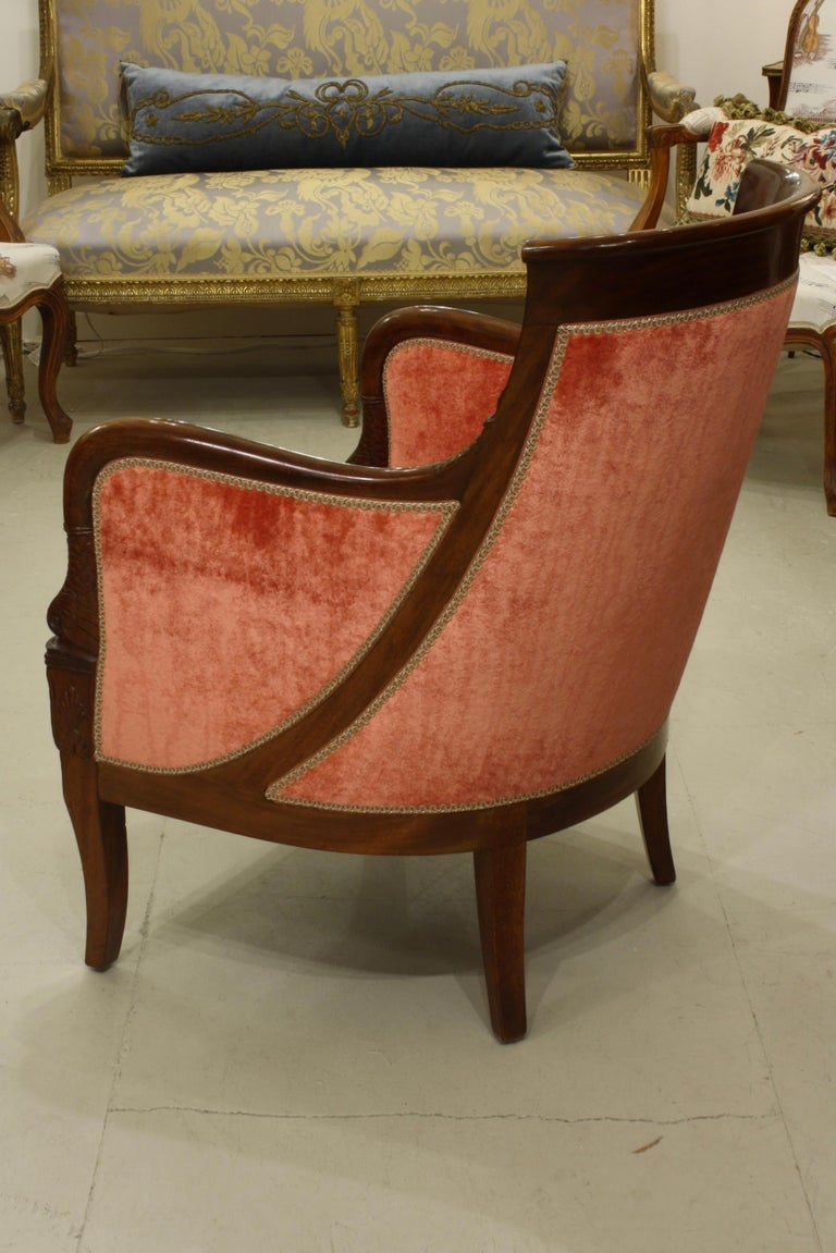 Silk Pair of French Empire Style Mahogany Bergere Armchairs with Dolphins For Sale