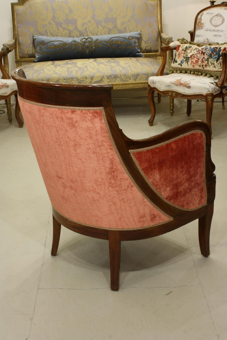 Pair of French Empire Style Mahogany Bergere Armchairs with Dolphins For Sale 1