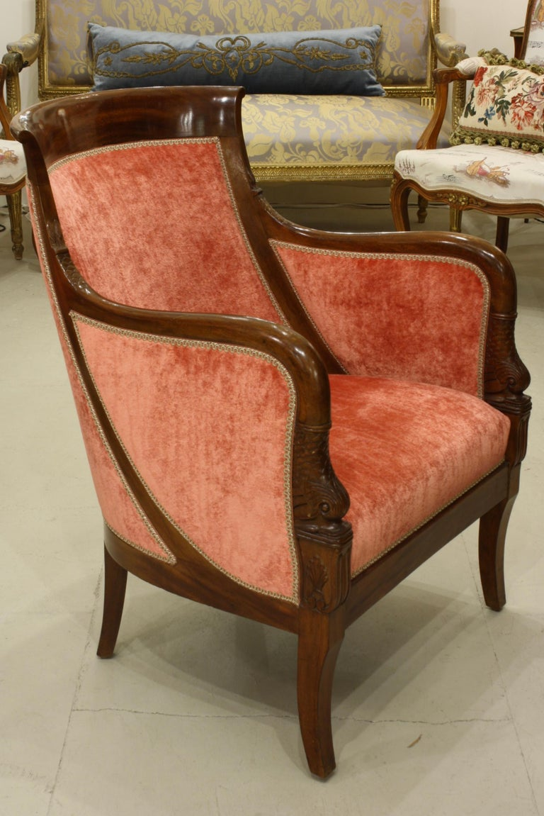 Pair of French Empire Style Mahogany Bergere Armchairs with Dolphins For Sale 2