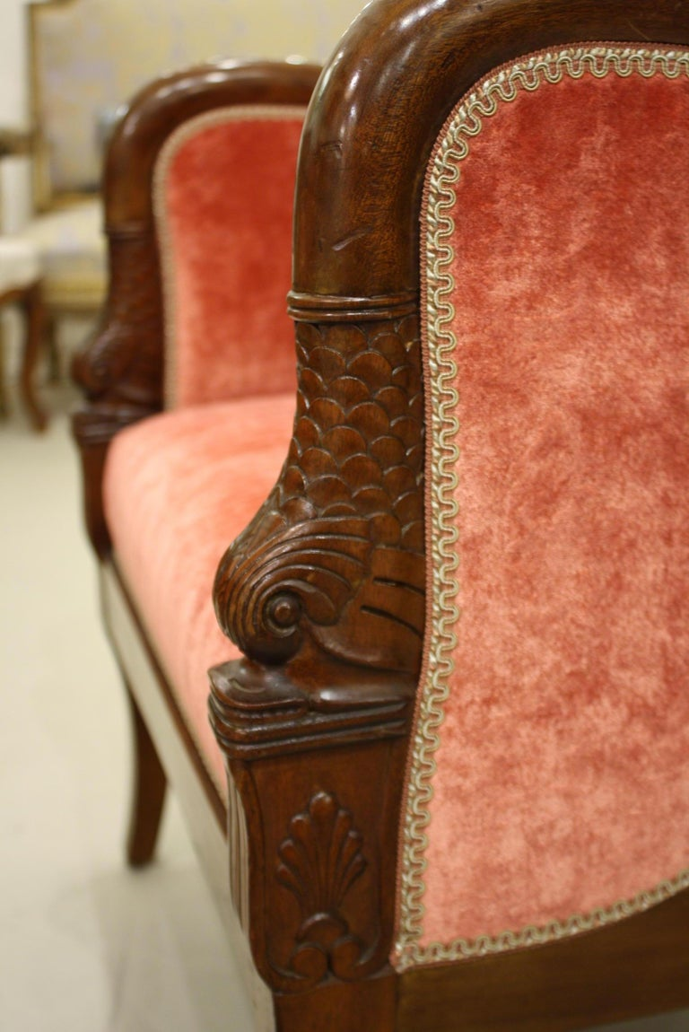 Pair of French Empire Style Mahogany Bergere Armchairs with Dolphins For Sale 3