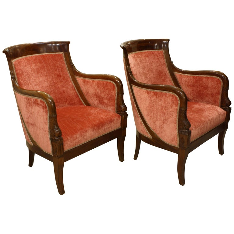 Pair of French Empire Style Mahogany Bergere Armchairs with Dolphins For Sale