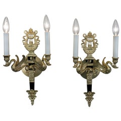 Pair of French Empire Style Swan Arm Bronze Wall Sconces