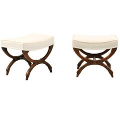 Pair of French Empire Style Walnut X-Form Stools with Cornucopia and Swan Motifs