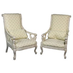 Pair of French Empire Style Winged Maiden Armchairs