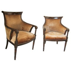 Pair of Anglo Indian Upholstered Bergère Armchairs